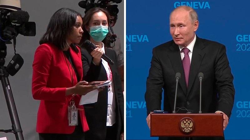 普京與拜登高峰會後記者會的對比