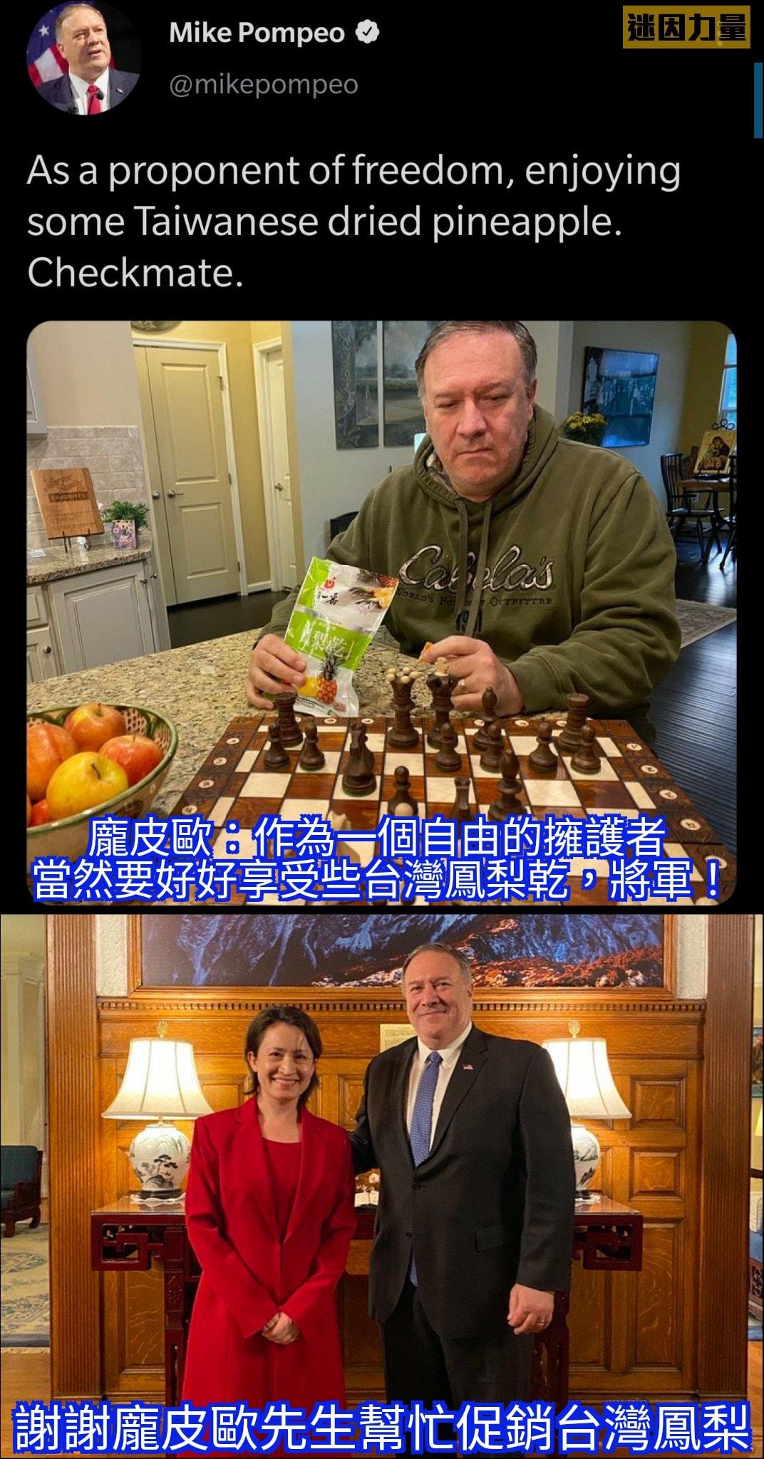 龐皮歐發推幫忙行銷台灣鳳梨