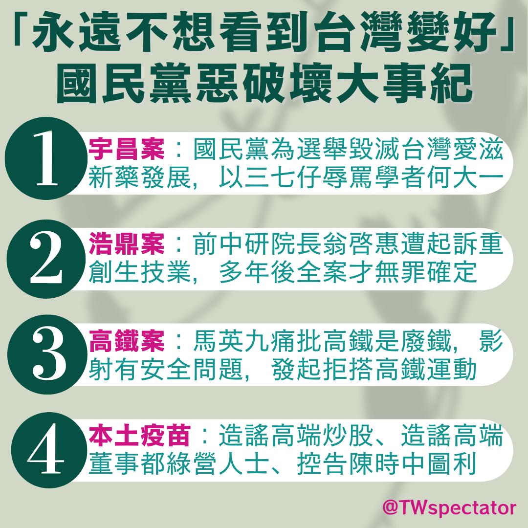 國民黨跟泛藍不想看到台灣變好