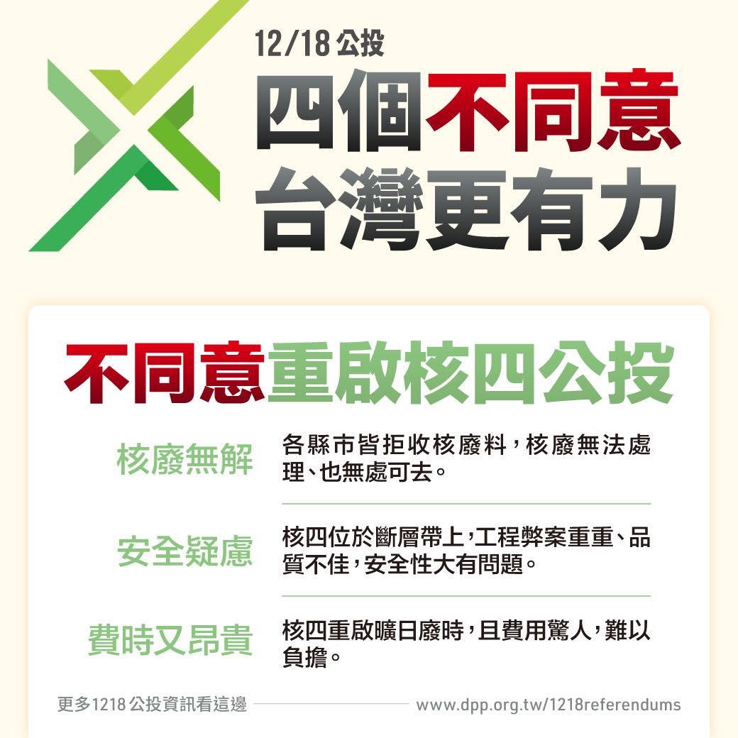 12/18公投四個不同意 台灣更有力
